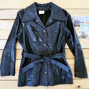 Women's Vintage 15 Large 70s Black Leather Jacket